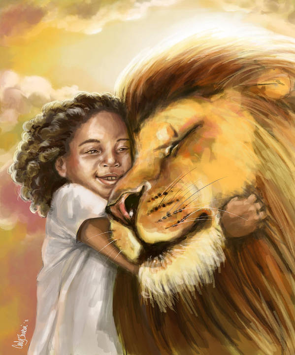 Christian Print featuring the digital art Lion's Kiss by Tamer and Cindy Elsharouni