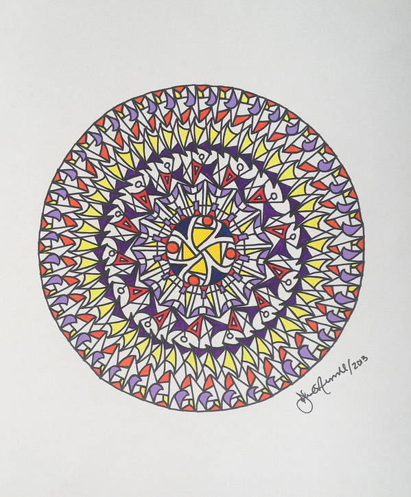 Abstract Painting Art Print featuring the painting Mandala V by John Russell