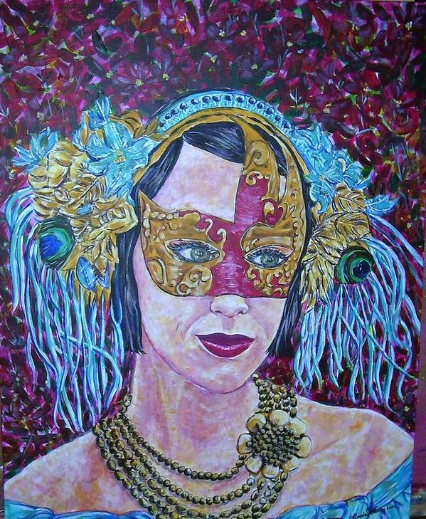Mask Colors Woman Art Print featuring the painting Mardi Gras by Linda Vaughon