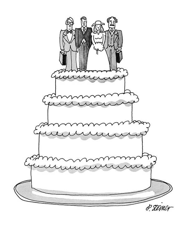 (wedding Cake With Figures Of The Bride And Groom Art Print featuring the drawing New Yorker July 9th, 1979 by Peter Steiner