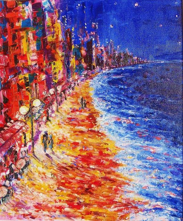 Contemporary Impressionism Expressionism Art Print featuring the painting Nostalgic Night by Helen Kagan