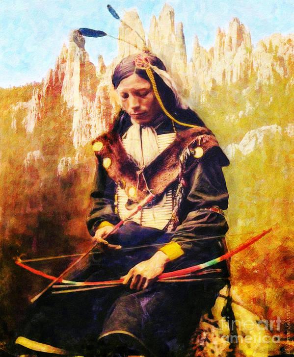 Native American Art Print featuring the digital art Oglala Homeland by Lianne Schneider