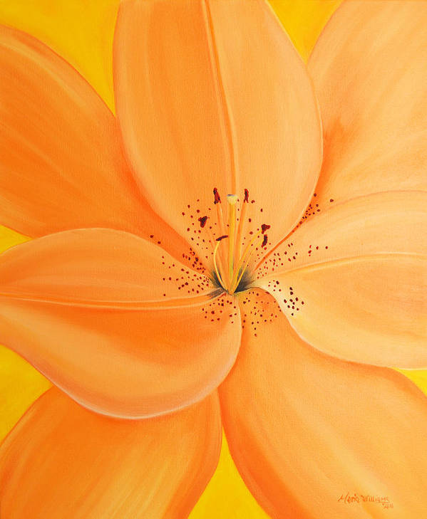 Balloon Flower Art Print featuring the painting Peachy Summer by Maria Williams