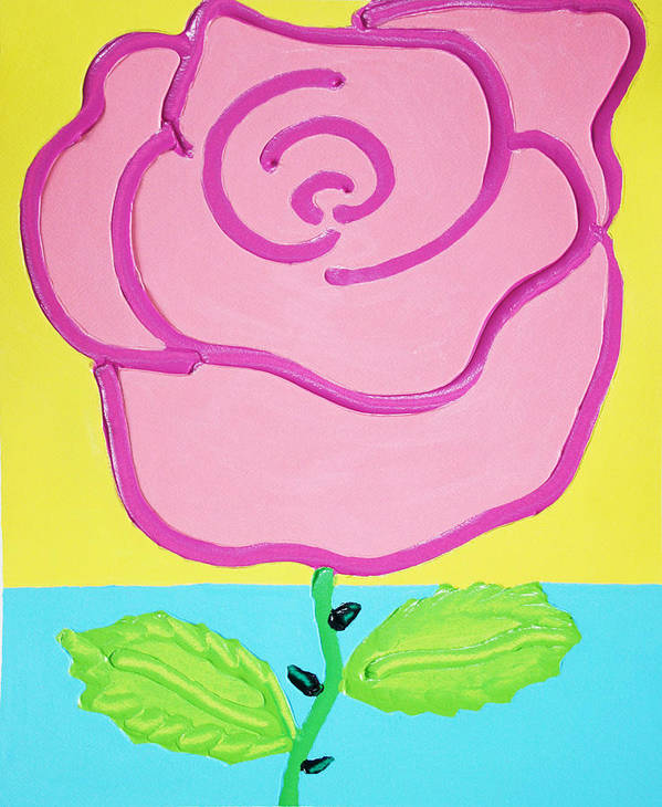 Rose Art Print featuring the painting Pink Rose by Matthew Brzostoski