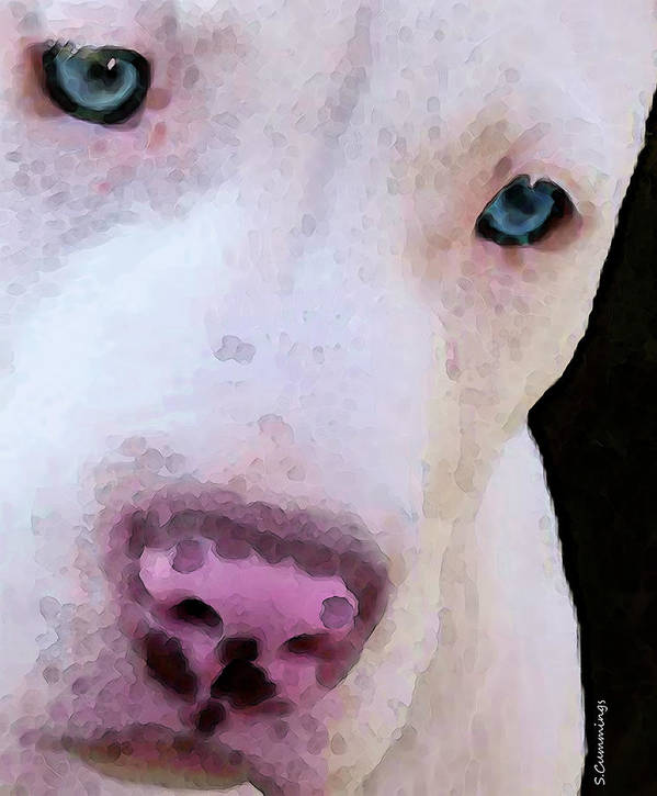Pit Bull Art Print featuring the painting Pit Bull Art - Not A Fighter by Sharon Cummings