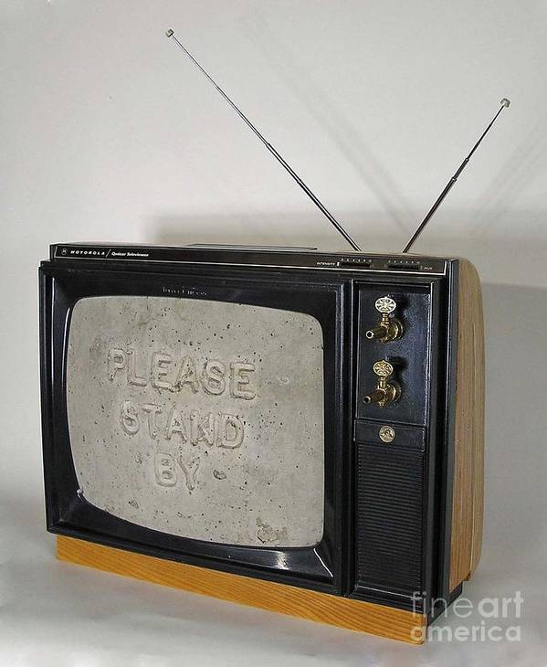 Tv Set Art Print featuring the sculpture Please Stand By by Bill Czappa