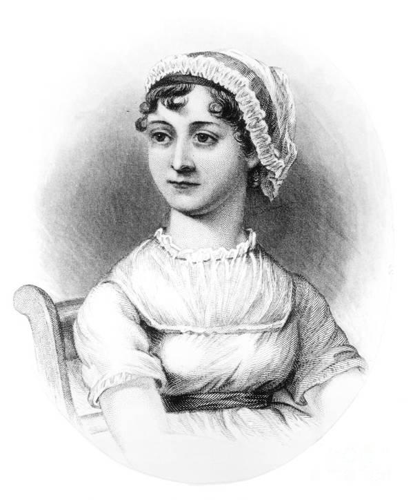Female; Novelist; Writer; Regency Print featuring the drawing Portrait Of Jane Austen by English School