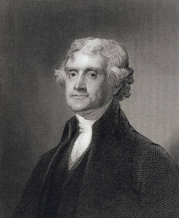 Thomas Jefferson Art Print featuring the drawing Portrait Of Thomas Jefferson by Henry Bryan Hall