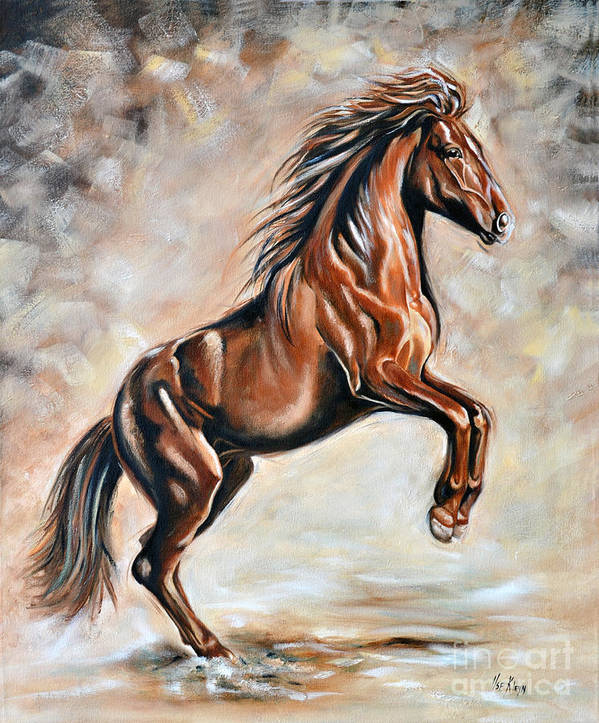 Horse Art Print featuring the painting Red Beauty by Ilse Kleyn