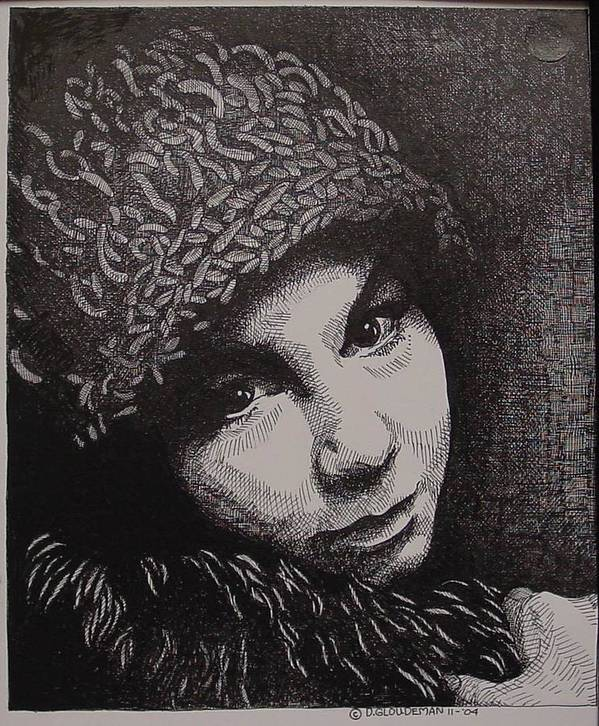 Portraiture Art Print featuring the drawing Rena by Denis Gloudeman