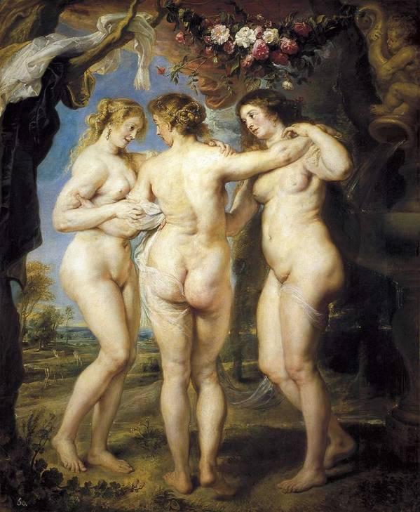 Vertical Art Print featuring the photograph Rubens, Peter Paul 1577-1640. The Three by Everett