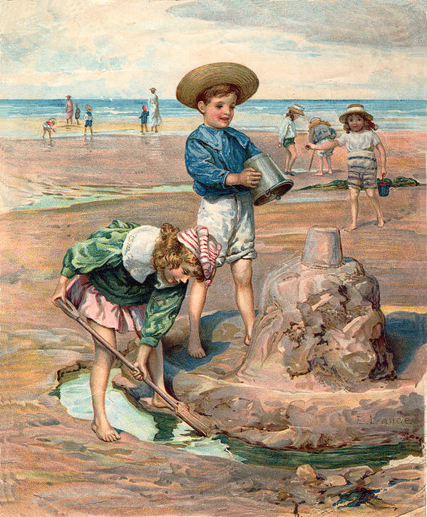 Sand Castles At The Beach Print featuring the digital art Sand Castles At The Beach by Unknown