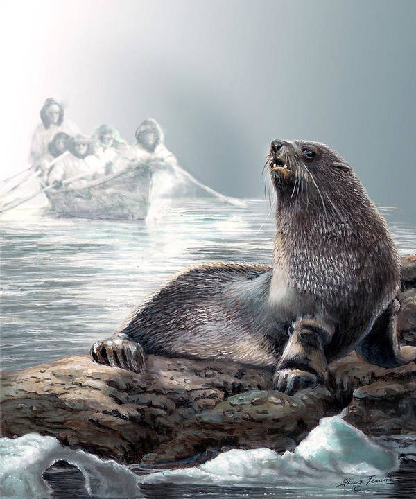 Painting By Gina Femrite Art Print featuring the painting Harp Seal And Native Hunters by Regina Femrite