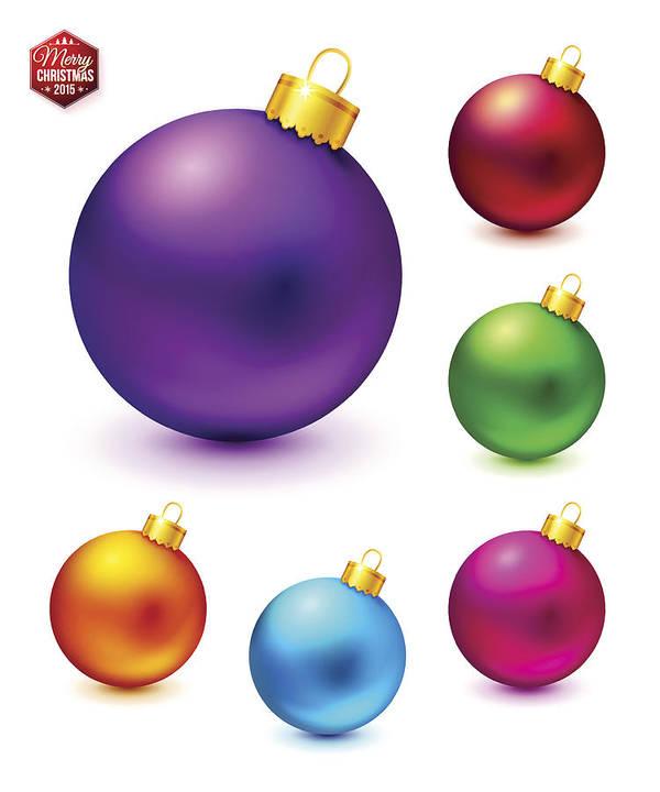 Colorful Christmas Balls.Set Of Realistic And Colorful Christmas Balls Vector Illustrati Art Print
