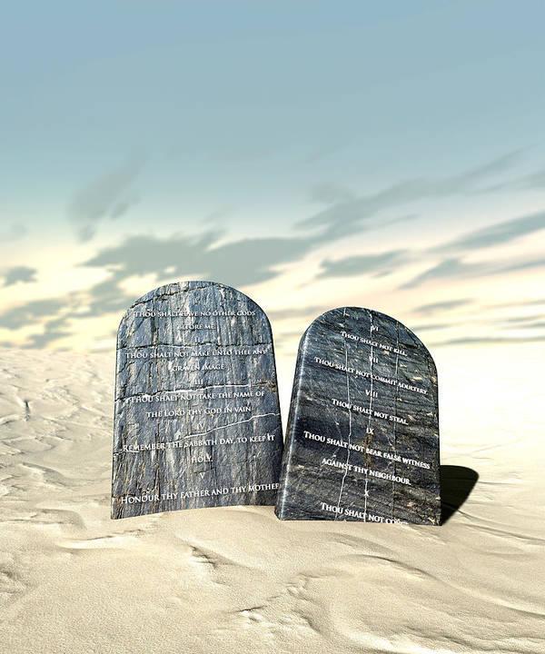 Ten Commandments Print featuring the digital art Ten Commandments Standing In The Desert by Allan Swart