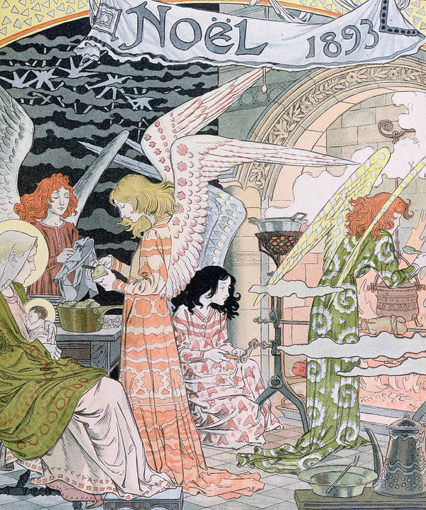 Angels Art Print featuring the painting The Angels Kitchen by Eugene Grasset