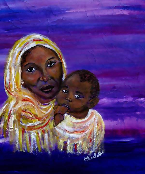 Mother And Child Art Print featuring the painting The Devotion Of A Mother's Love by The Art With A Heart By Charlotte Phillips