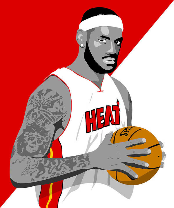 Lebron Art Print featuring the drawing The King Lebron James by Paul Dunkel
