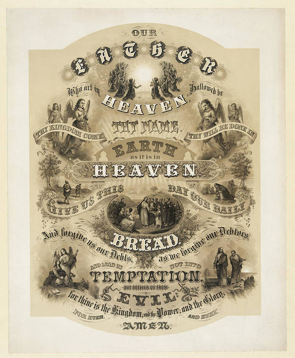 The Lords Prayer Print featuring the drawing The Lords Prayer by Bill Cannon