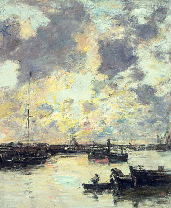 Boat Print featuring the painting The Port by Eugene Louis Boudin