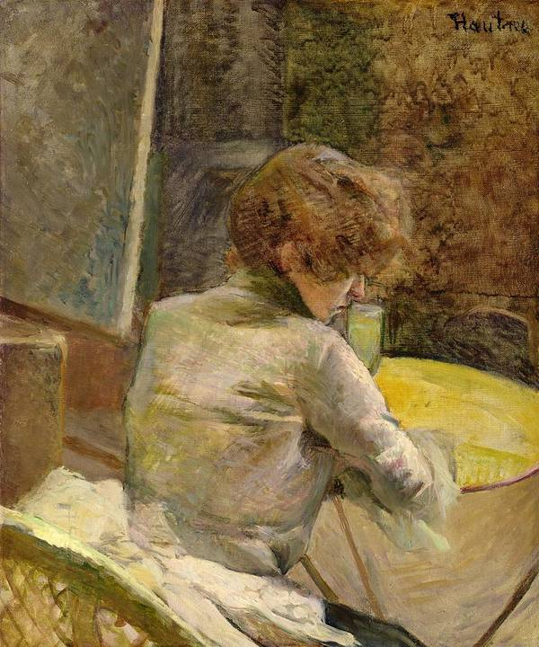 Waiting At Grenelle (oil On Canvas) Female; Seated; Back; Leaning; Table; Bored; Despondent; Interior; Ambiguous; Post-impressionist; C19th; C20th; Enigmatic; Henri Art Print featuring the painting Waiting At Grenelle by Henri de Toulouse-Lautrec