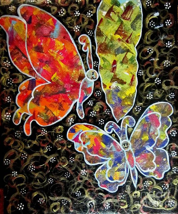 Whimsical Painting Art Print featuring the painting Whimsical Painting- Colorful Butterflies by Priyanka Rastogi