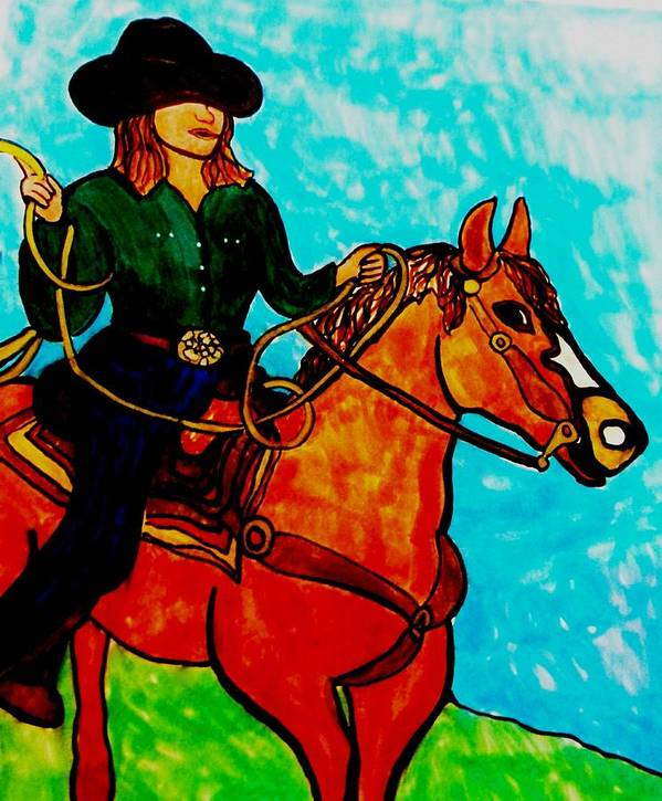 Cowgirl Art Print featuring the drawing Sunday Afternoon Cowgirl by Amy Carruth-Drum
