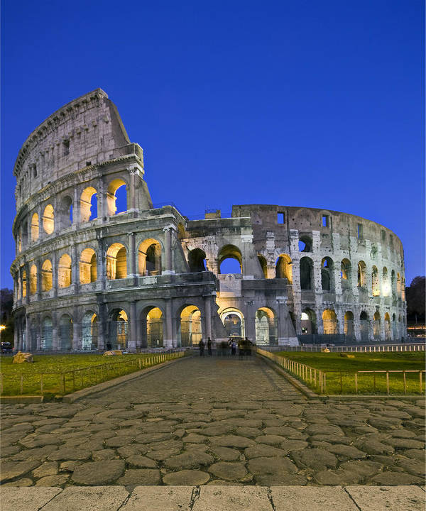 Colosseum Art Print featuring the photograph Colosseum At Blue Hour by Michael Yeager