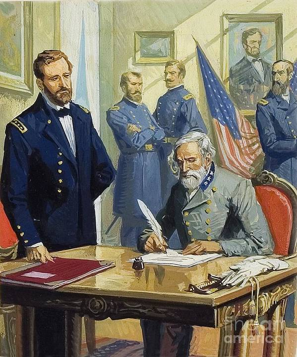 Battle Of Gettysburg Art Print featuring the painting General Ulysses Grant Accepting The Surrender Of General Lee At Appomattox by Severino Baraldi