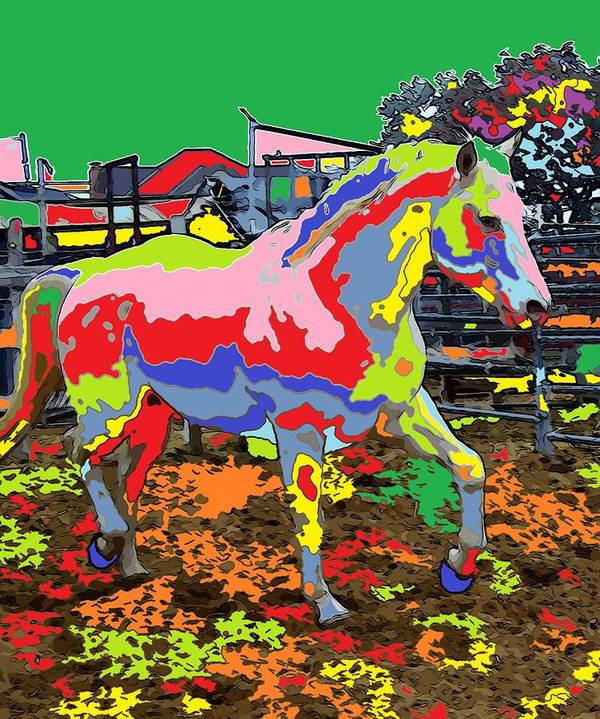 Horse Art Print featuring the digital art horse Portrait 8 by Adrian Tovnodtov