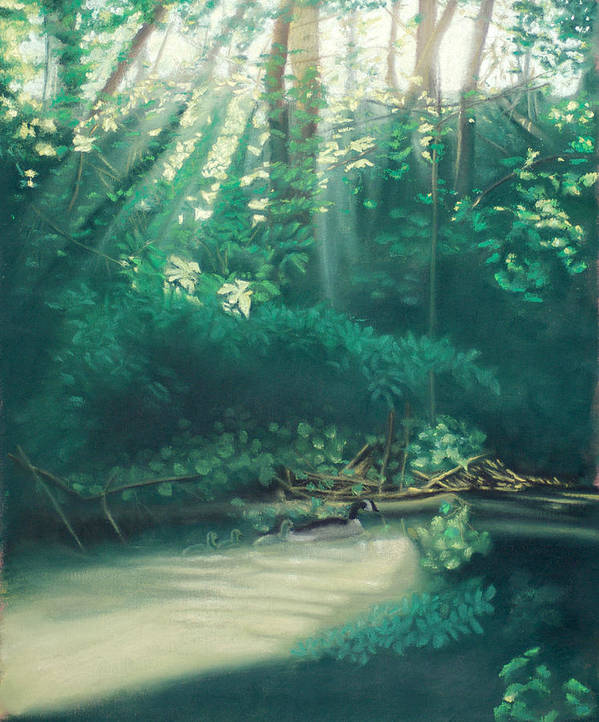 Morning Art Print featuring the pastel Morning On The Creek by Bernadette Kazmarski
