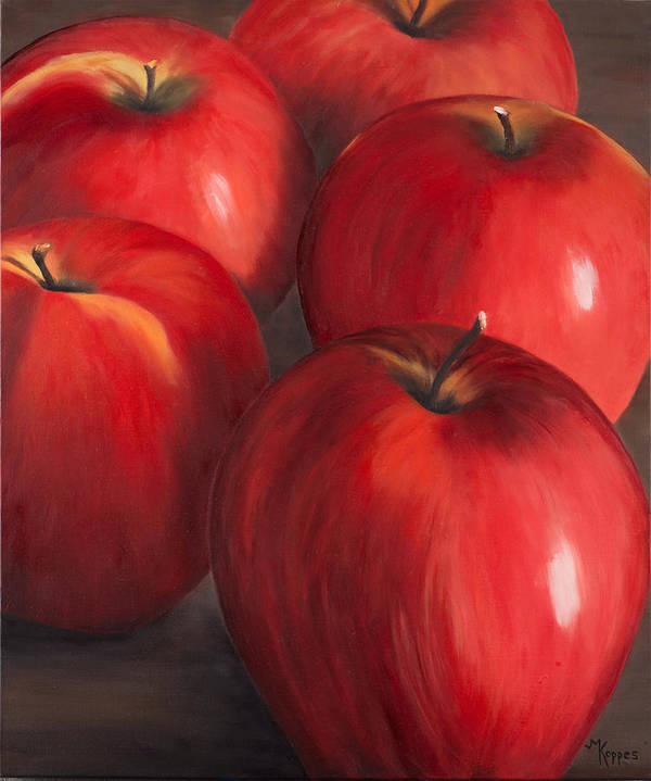 Gala Apples Art Print featuring the painting Peel Me A Gala by Judith Koppes