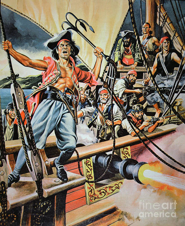 Pirate; Piracy; Buccaneer; Brigand; Contraband; Corrupt; Criminal; Criminals; Illusion; Rogue; Rogues; Outlaw; Capture; Capturing; Traditional Dress; Traditional Costume; Ship; Boat; Grappling Hook; Swarhy; Maritime; Illustration; Attack; Ship; Deck; Fierce; Aggression Art Print featuring the painting Pirates Preparing To Board A Victim Vessel by American School
