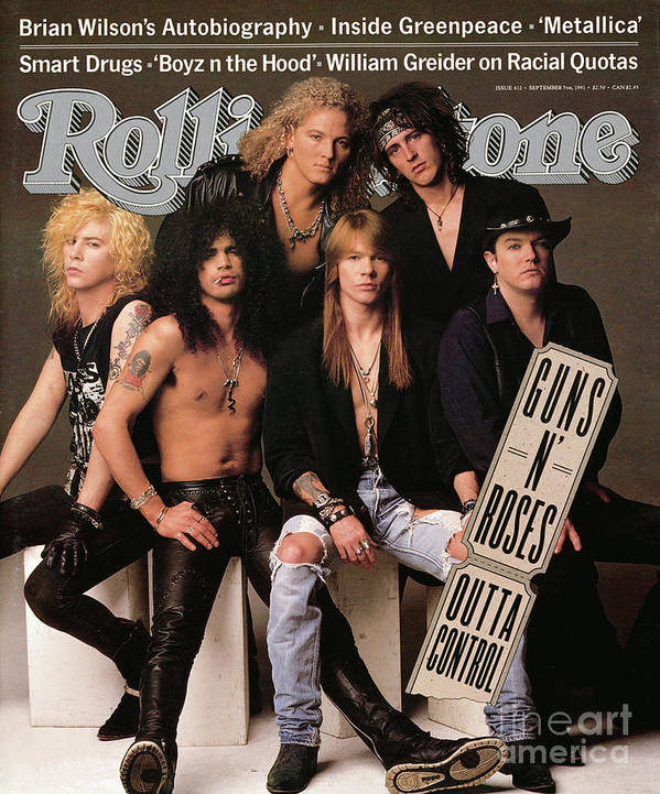 Guns 'n Roses Art Print featuring the photograph Rolling Stone Cover - Volume #612 - 9/5/1991 - Guns 'n Roses by Herb Ritts