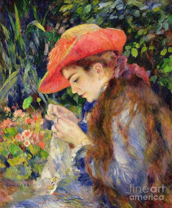Female;portrait;hat;profile;concentration;concentrating;needlework;absorbed;impressionist;al Fresco;summer;domestic;colourful Art Print featuring the painting Marie Therese Durand Ruel Sewing by Pierre Auguste Renoir