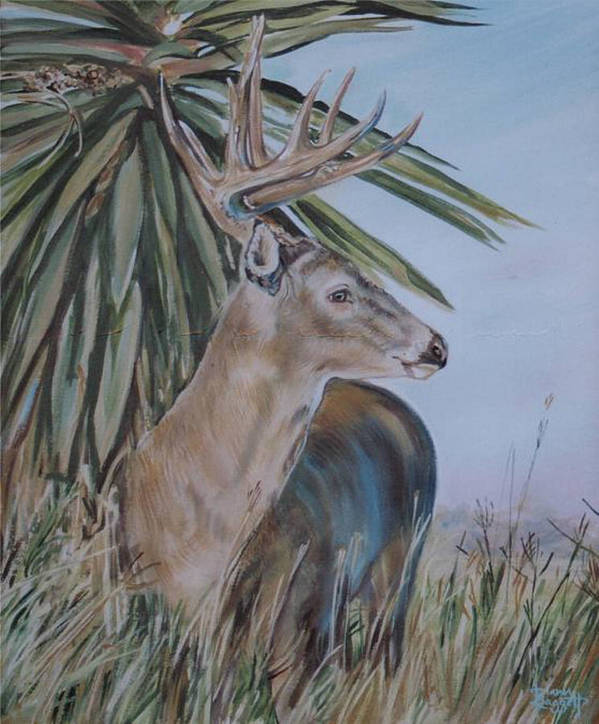Animal Art Print featuring the painting Berry Buck by Diann Baggett