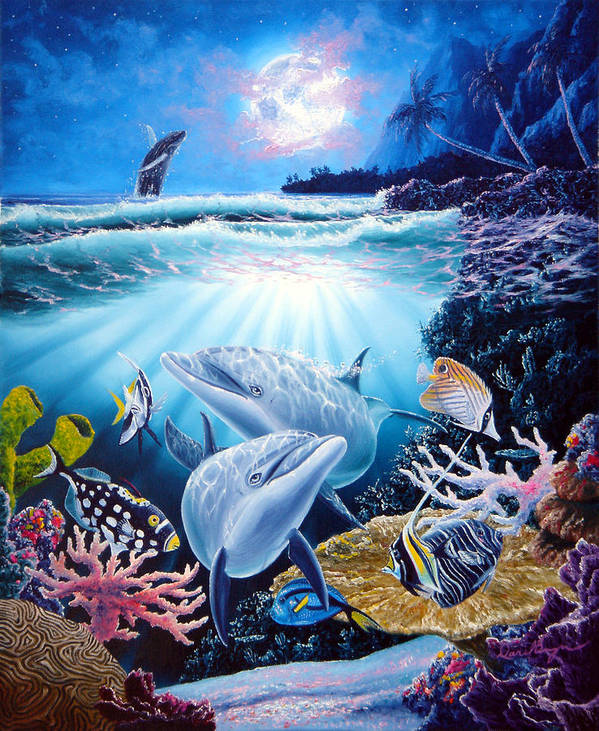 Dolphin Art Print featuring the painting Dolphin Dream by Daniel Bergren