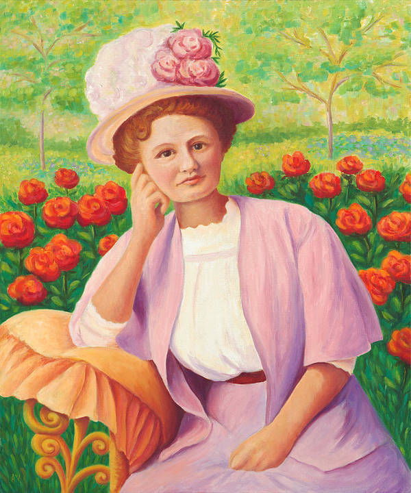 Portrait Art Print featuring the painting Ida In The Garden by Amy Vangsgard