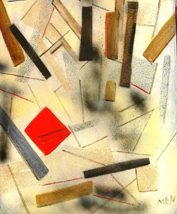 Art Print featuring the painting 1 Red Object by Evguenia Men