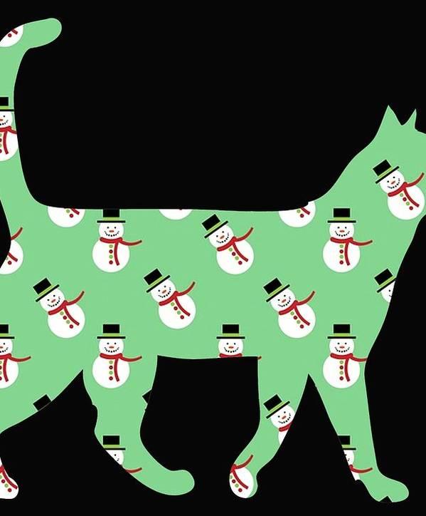 Cat Art Print featuring the digital art Snowman Cat by Kaylin Watchorn