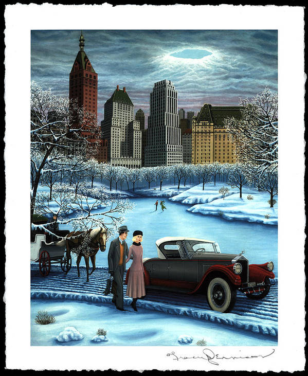 Plaza Hotel Art Print featuring the painting Winter Wonderland by Tracy Dennison