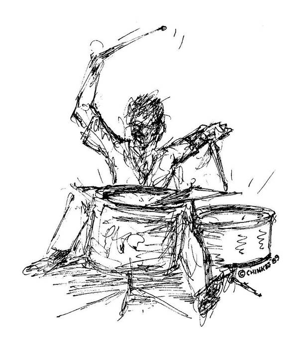 Drummer Art Print featuring the drawing Drummer by Sam Chinkes