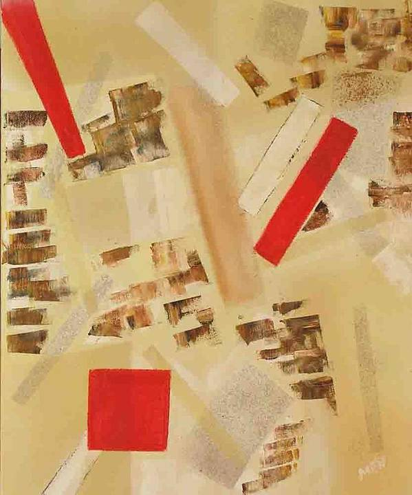 Abstract Art Print featuring the painting 3 Red Objects by Evguenia Men