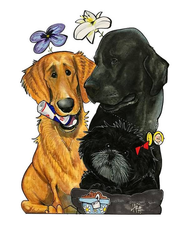 Pet Portrait Art Print featuring the drawing 7-1396 Scallon by John LaFree