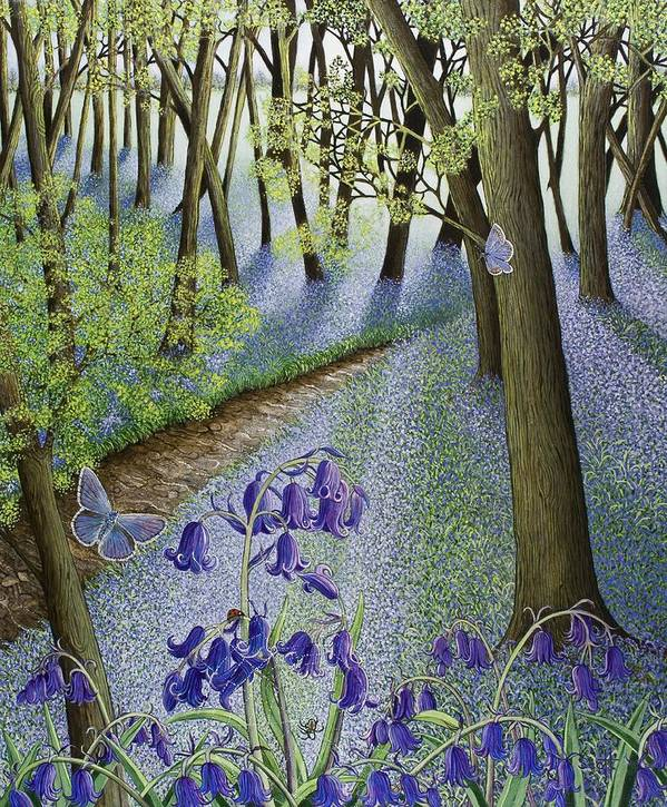 Woods; Flowers; Bluebells; Bluebell; Flower; Tree; Trees Art Print featuring the painting A Fresh Start by Pat Scott
