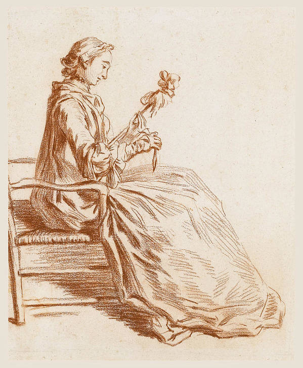 Pierre Parrocel Art Print featuring the drawing A Seated Woman by Pierre Parrocel