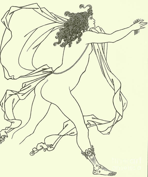 Apollo Pursuing Daphne Art Print featuring the drawing Apollo Pursuing Daphne by Aubrey Beardsley