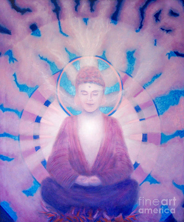 Buddha Art Print featuring the painting Awakening Buddha by Brian Commerford