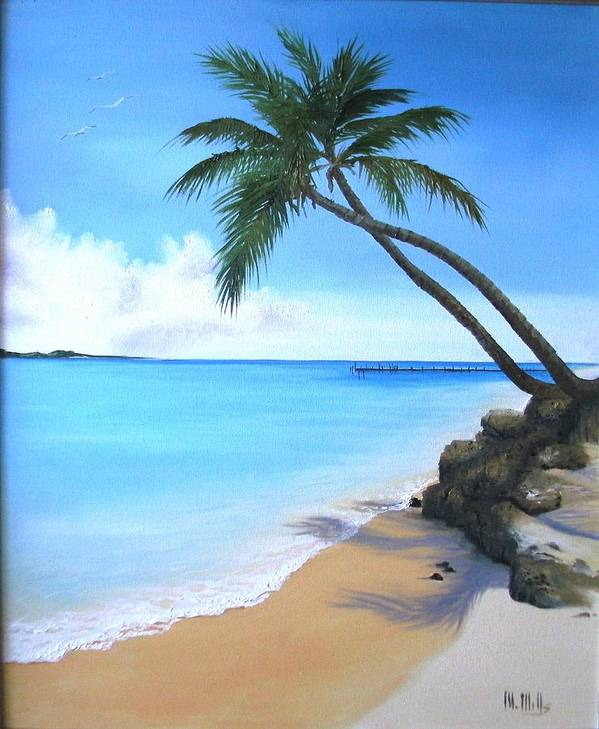 Beach Art Print featuring the painting Bahamian Twin Palms by Maria Mills