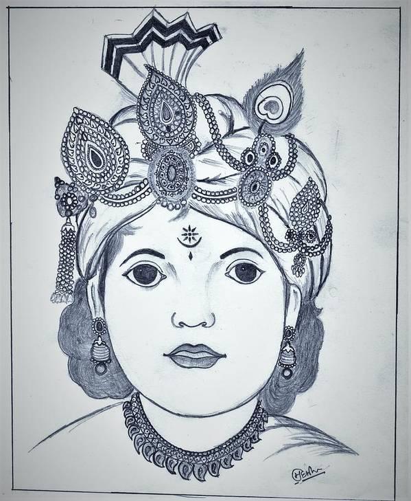 God Krishna Art Print featuring the drawing Bal Krishna by Mahesh Kumar Meena